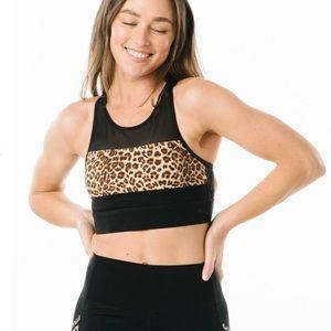 Zyia black all star leopard bra large